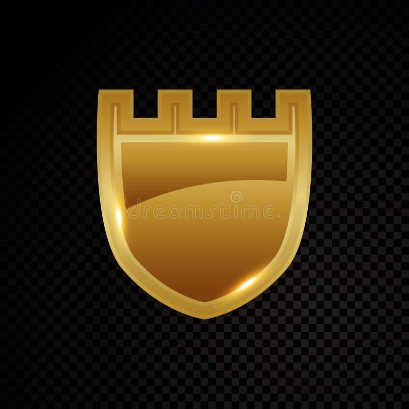 金子明亮地保护发光的安全保障商标 皇族释放例证
