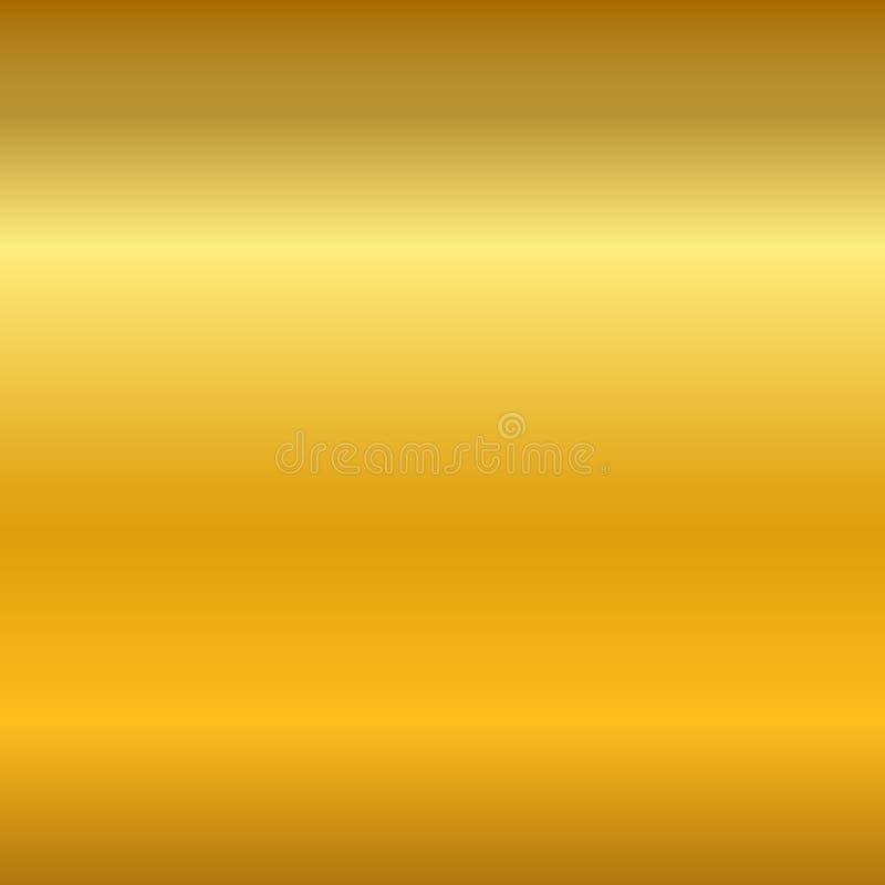 金子梯度光滑的纹理 空的金黄金属背景 轻的金属板材模板,抽象样式 照亮 库存例证