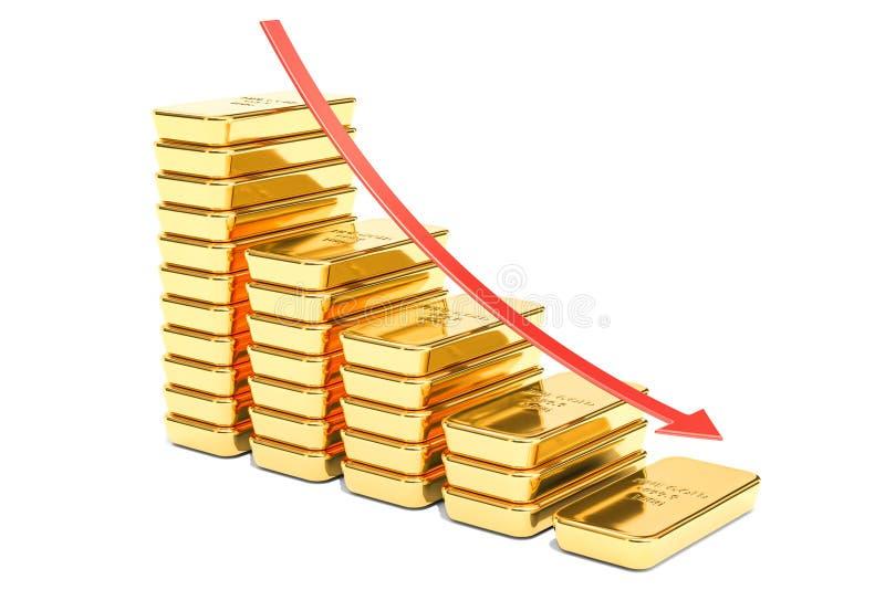 金子概念的, 3D跌价翻译 库存例证
