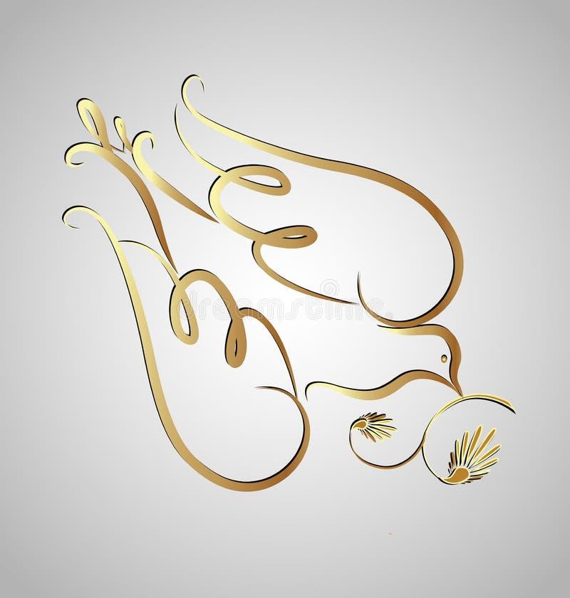 金子潜水swirly剪影,象传染媒介 皇族释放例证