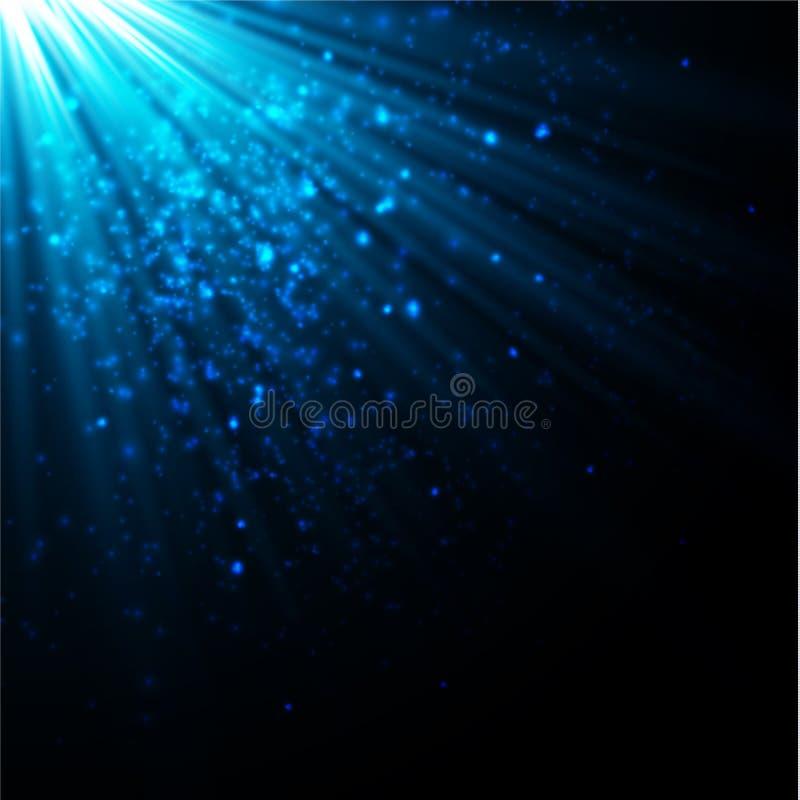 金子焕发微粒bokeh 闪烁作用 与闪闪发光的爆炸 金黄闪耀的闪烁和星 欢乐的传染媒介 库存例证
