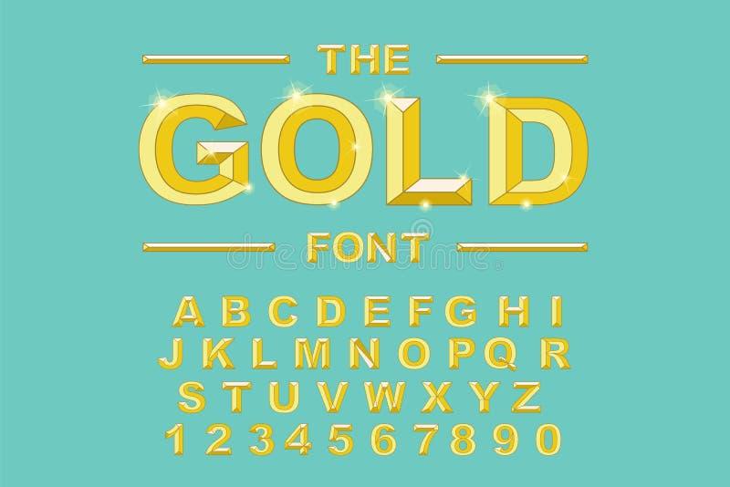 金子现代大胆的字体和字母表 葡萄酒字母表传染媒介80 s 库存例证