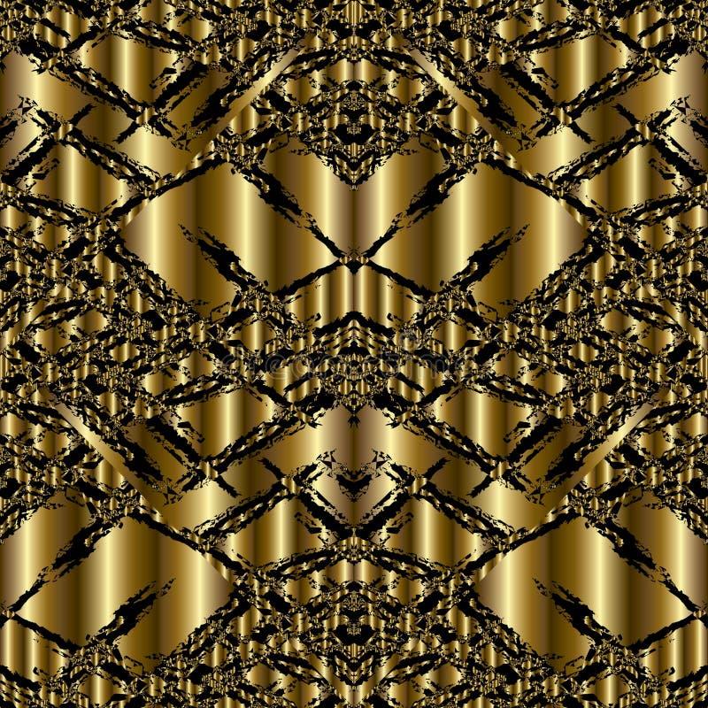 金子现代3d难看的东西无缝的样式 抽象传染媒介Backgrou 皇族释放例证