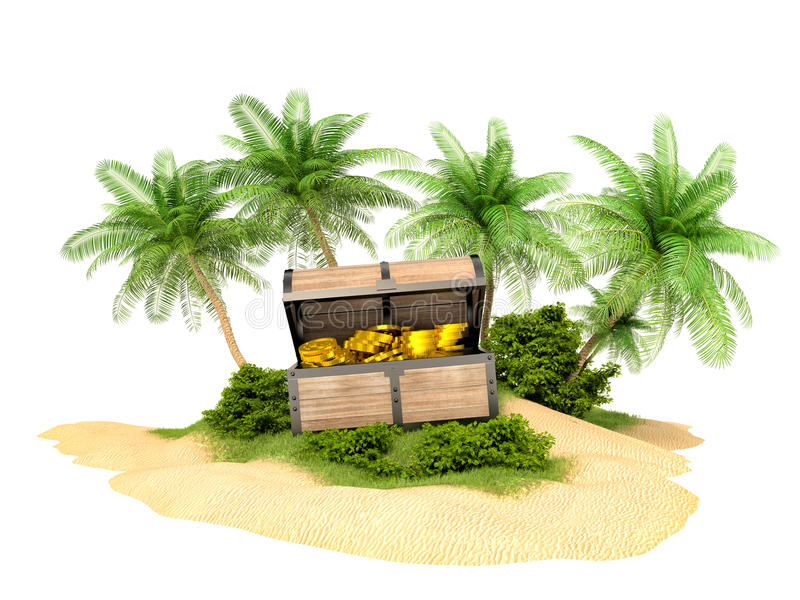 金子的失去的宝物箱在海岛上的 向量例证