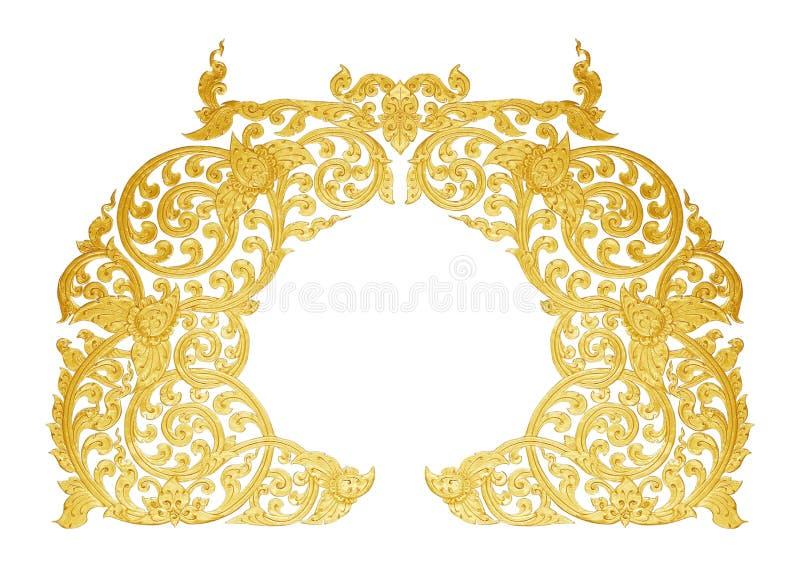 金子的装饰品镀了花卉葡萄酒,泰国艺术样式 免版税库存图片