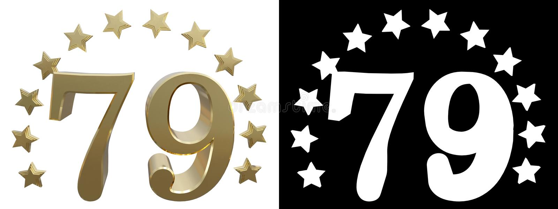 金子第七十九,装饰用星圈子  3d例证 皇族释放例证