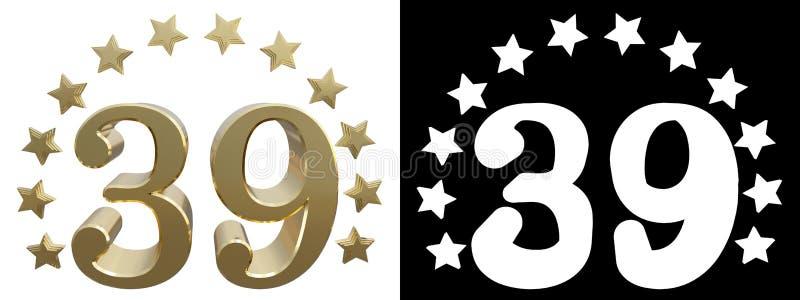 金子第三十九,装饰用星圈子  3d例证 向量例证