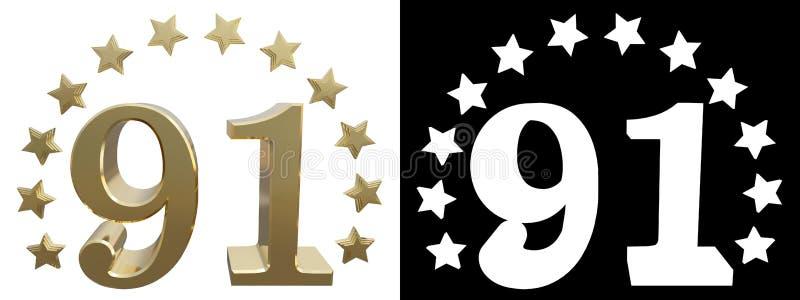 金子第九十一,用星圈子装饰 3d例证 向量例证