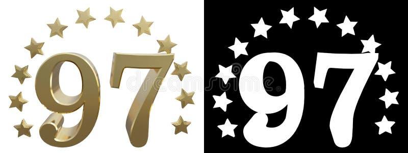 金子第九十七,装饰用星圈子  3d例证 库存例证
