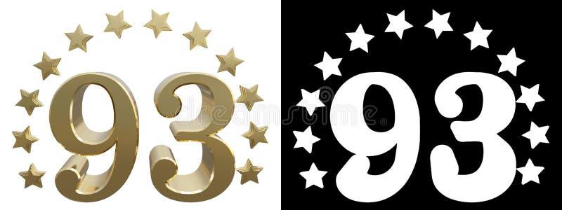 金子第九十三,装饰用星圈子  3d例证 库存例证