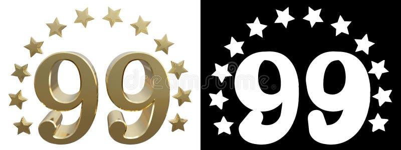 金子第九十九,装饰用星圈子  3d例证 向量例证
