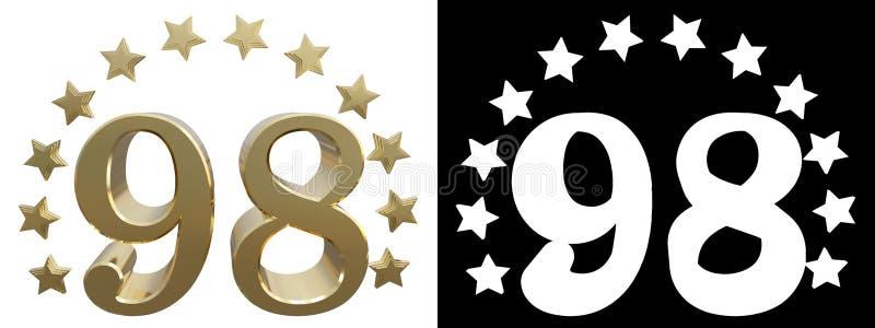 金子第九十八,装饰用星圈子  3d例证 库存例证