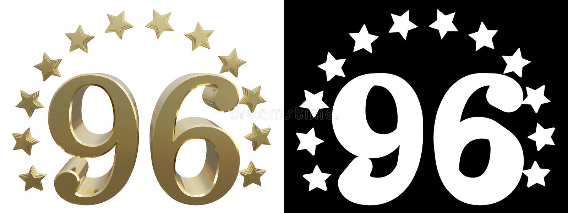 金子第九十六,装饰用星圈子  3d例证 皇族释放例证