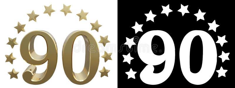 金子第九十,装饰用星圈子  3d例证 皇族释放例证