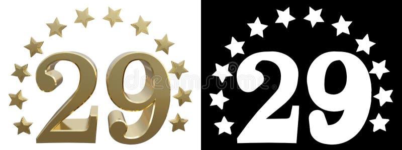 金子第二十九,装饰用星圈子  3d例证 库存例证