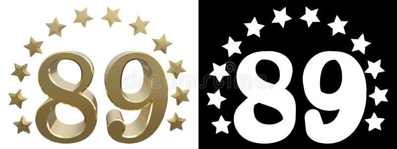 金子第八十九,装饰用星圈子  3d例证 皇族释放例证
