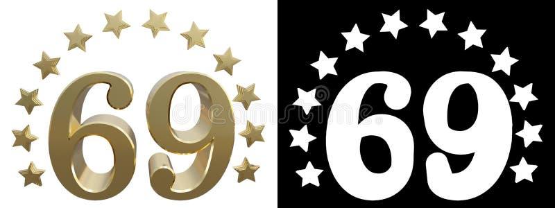 金子第六十九,装饰用星圈子  3d例证 库存例证