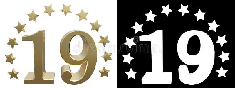 金子第十九,装饰用星圈子  3d例证 库存例证