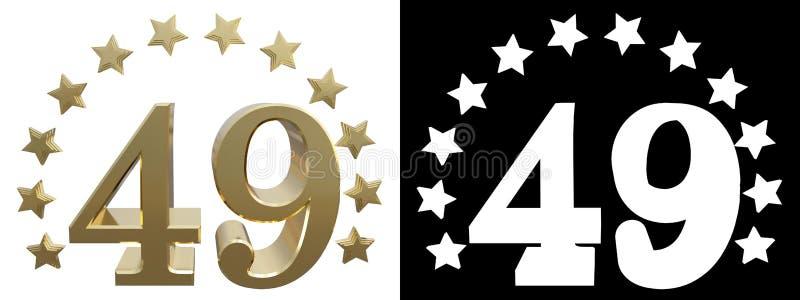 金子第四十九,装饰用星圈子  3d例证 皇族释放例证