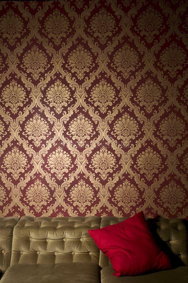 金子红色墙纸 免版税库存图片