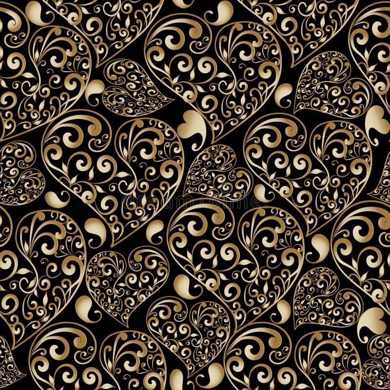 金子花卉爱心脏无缝的样式 传染媒介抽象backgr 库存例证