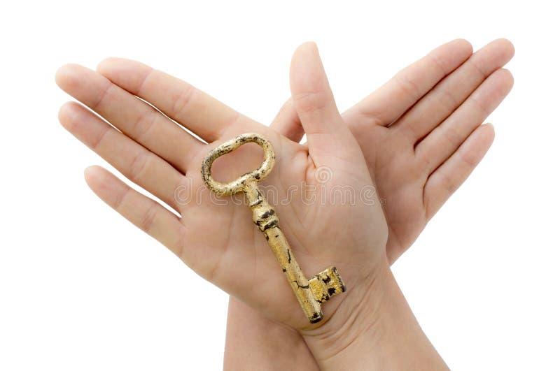 金子钥匙在我的手上 库存照片