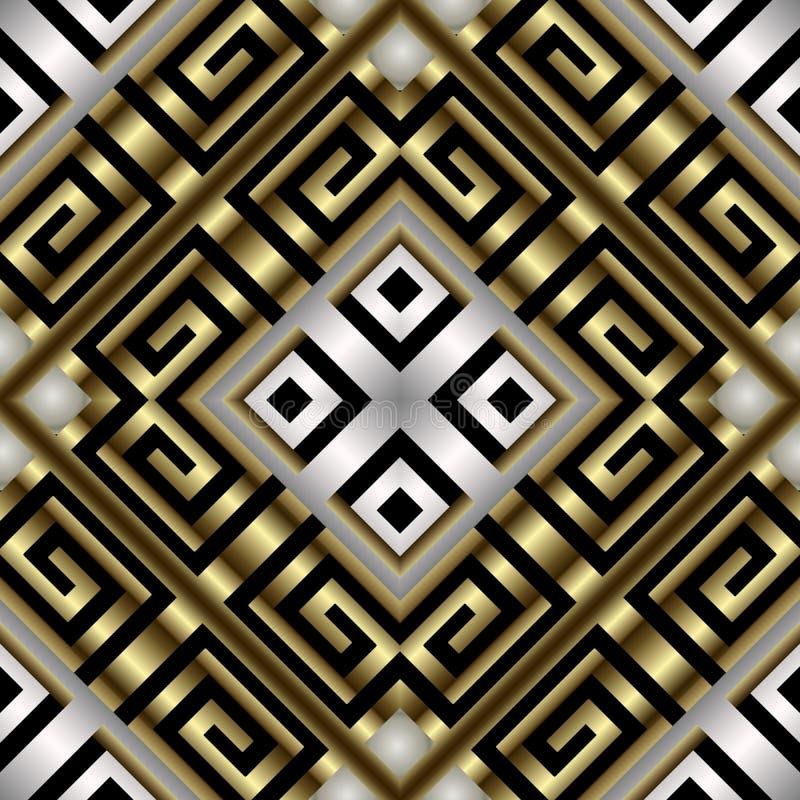 金子银色几何3d传染媒介无缝的样式 华丽装饰现代背景 几何金黄形状,菱形,希腊语 皇族释放例证