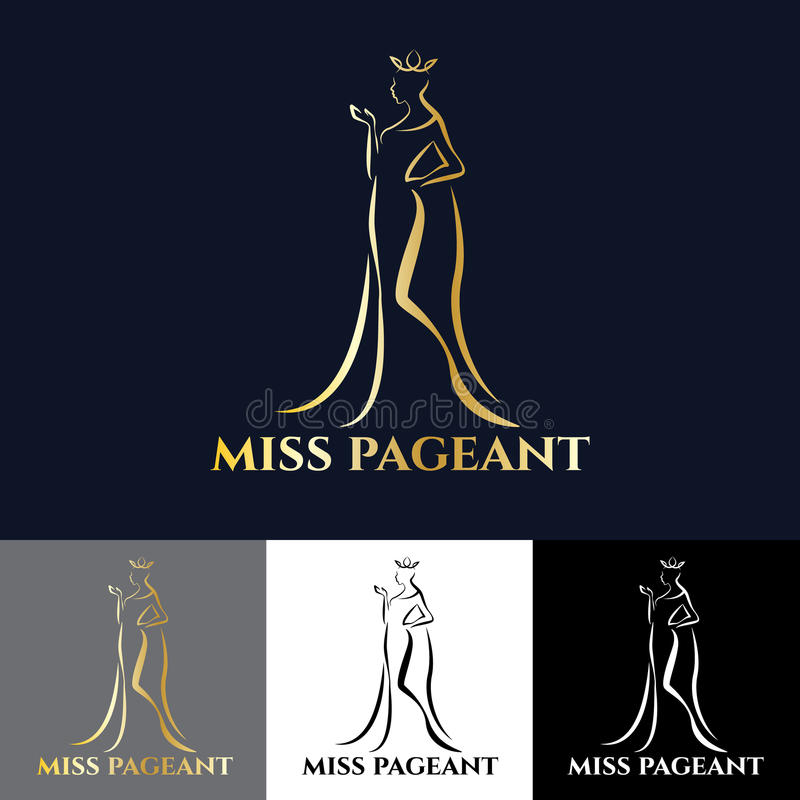 金子错过壮丽的场面传染媒介艺术设计的夫人商标 皇族释放例证