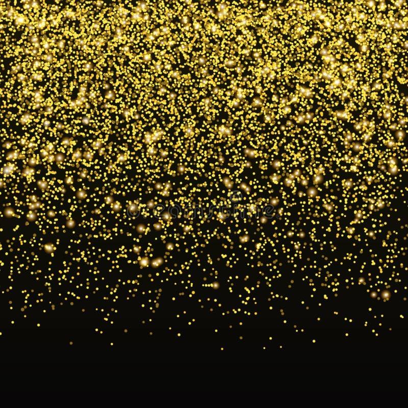 金子闪烁五彩纸屑传染媒介 在黑背景隔绝的落的金黄星团 圣诞节亮光 向量例证