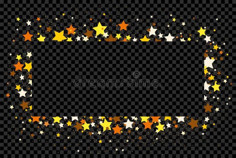 金子闪烁五彩纸屑和星在透明背景 皇族释放例证