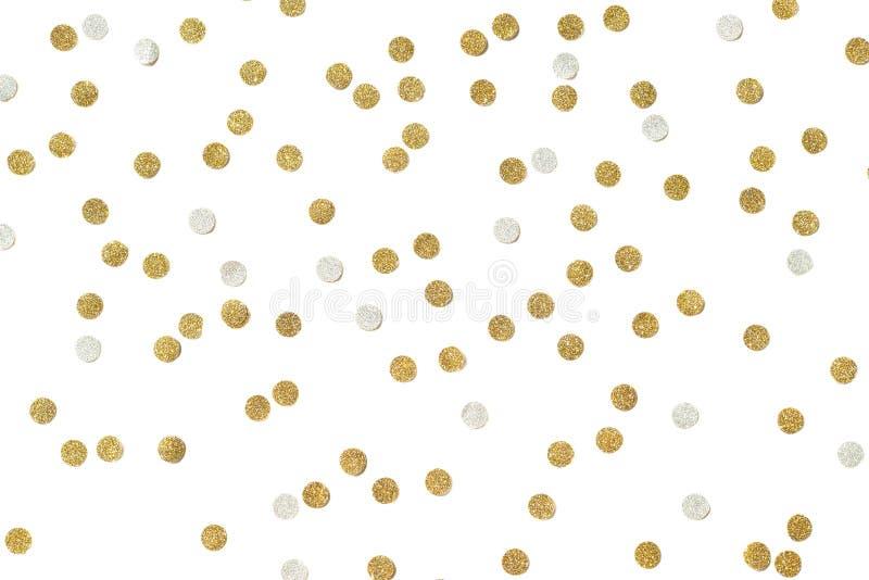 金子闪烁五彩纸屑纸裁减 库存图片