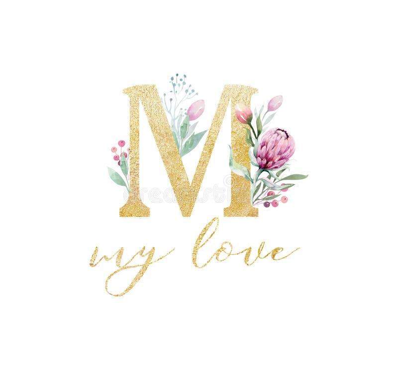 金子闪烁信件爱婚姻 被隔绝的金黄按字母顺序的字体和数字在白色背景 花卉婚姻的字体 免版税库存照片