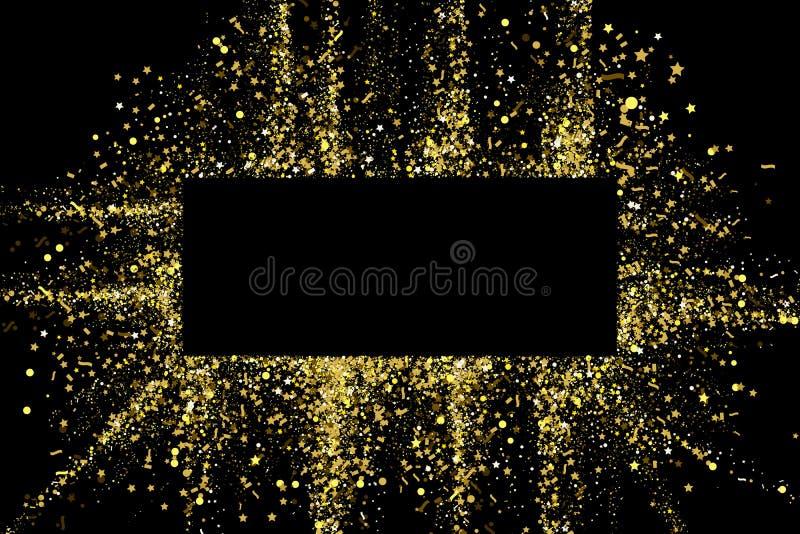 金子闪烁党五彩纸屑纹理与地方的横幅框架文本的黑背景的 五彩纸屑金黄爆炸  皇族释放例证