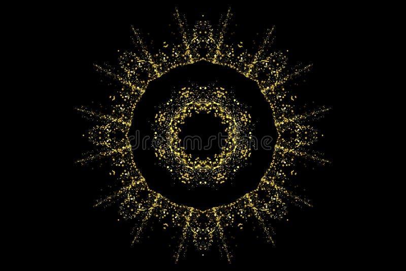 金子闪烁党五彩纸屑纹理回合与地方的横幅框架文本的黑背景的 金黄的圈子 库存例证