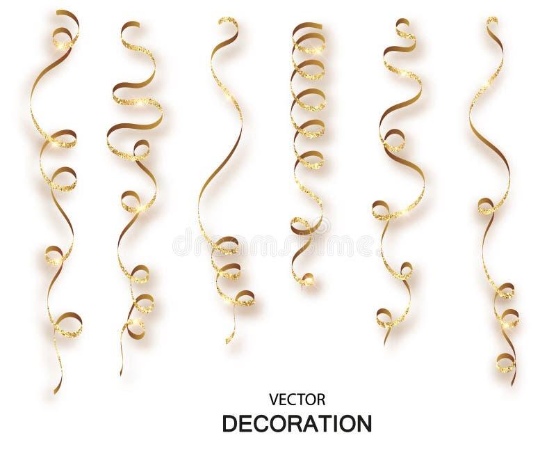 金子闪烁卷曲丝带蛇纹石五彩纸屑 在透明背景设置的金黄飘带 E 向量例证