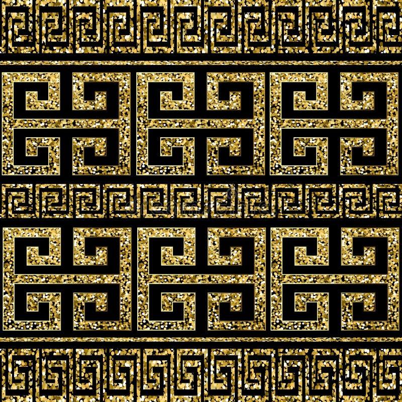金子闪烁发光的希腊传染媒介无缝的边界样式 不可思议的华丽豪华古老背景 几何重复亮光样式 皇族释放例证