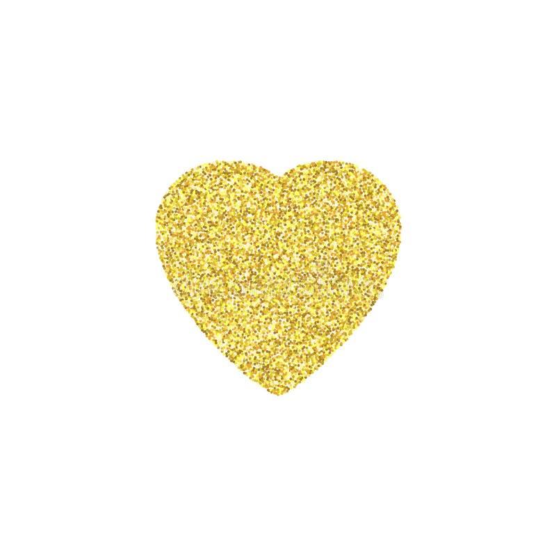 金子闪烁心脏标志在白色背景闪耀 免版税库存照片