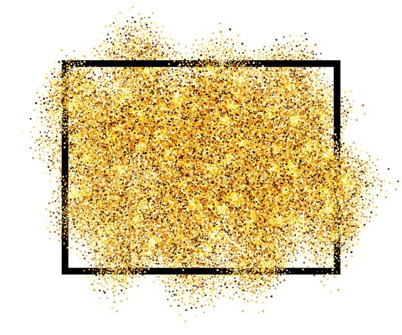 金子闪烁沙子在黑框架被隔绝的白色背景中 金黄纹理五彩纸屑,衣服饰物之小金属片,尘土浪花 明亮的模式 皇族释放例证