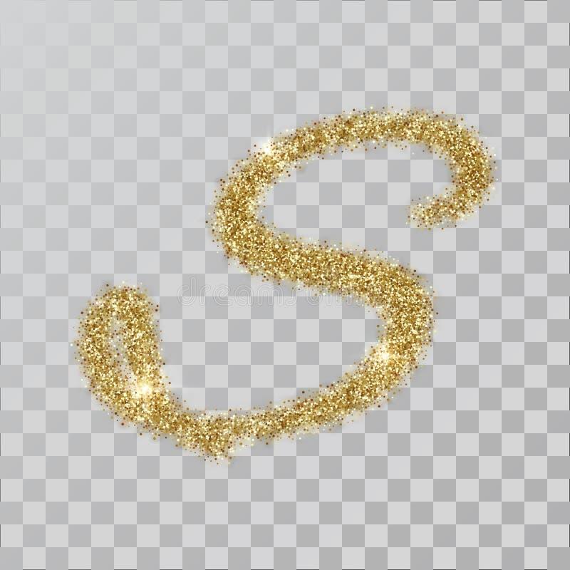 金子闪烁粉末字母S在手中绘了样式 皇族释放例证