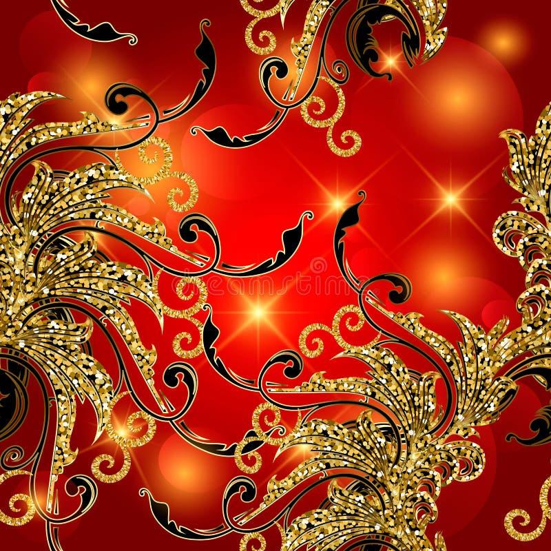 金子闪烁葡萄酒花卉巴洛克式的传染媒介无缝的样式 明亮的红色装饰金闪光背景 发光的重复闪烁 向量例证