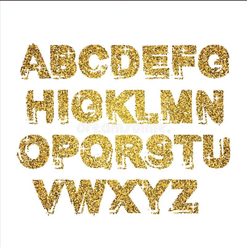 金子闪烁闪耀的字母表 装饰金黄豪华信件 发光的迷人的摘要abc 金黄闪烁文本有益于销售, ho 向量例证