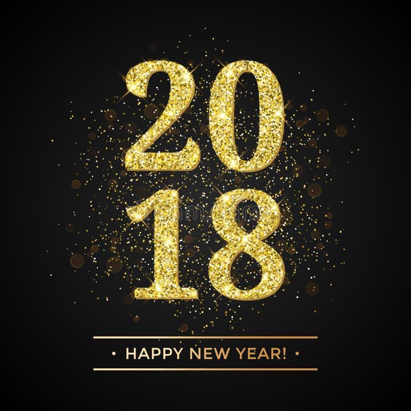 金子闪烁2018年在黑闪耀的背景的新年快乐文本 皇族释放例证