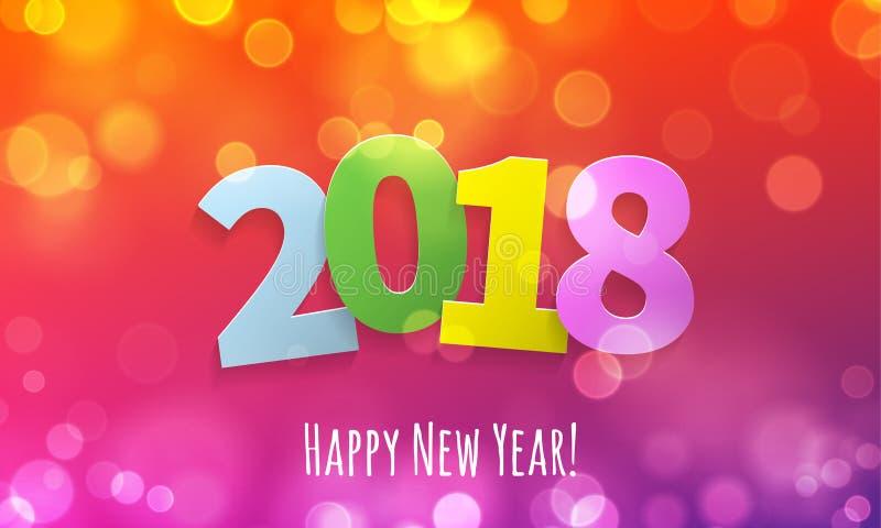金子闪烁2018年新年快乐文本黑闪耀的样式五彩纸屑背景 向量例证