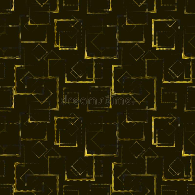 金子雕刻了正方形和菱形一个抽象发光的背景或样式的 向量例证