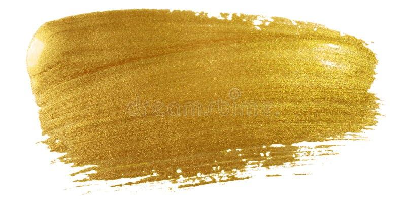 金子颜色画笔冲程 在白色背景的大金黄污迹污点背景 抽象详细的金子闪烁织地不很细弄湿了 免版税库存图片