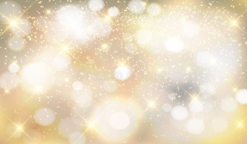 金子,银,与发光的火花的金属背景 免版税库存照片