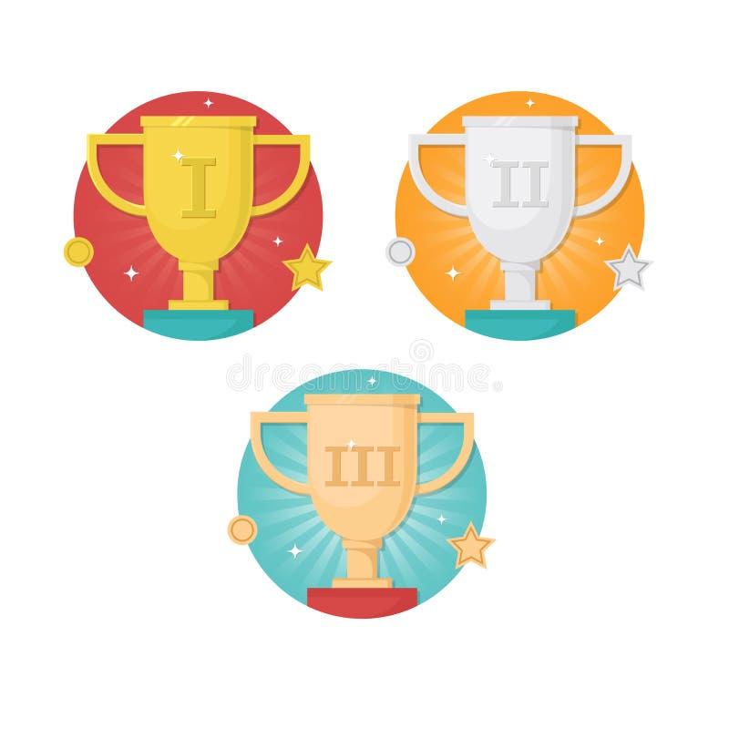 金子,银,古铜色优胜者杯子战利品平的设计象集合 库存例证