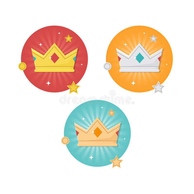 金子,银,古铜色冠平的设计象集合 皇族释放例证