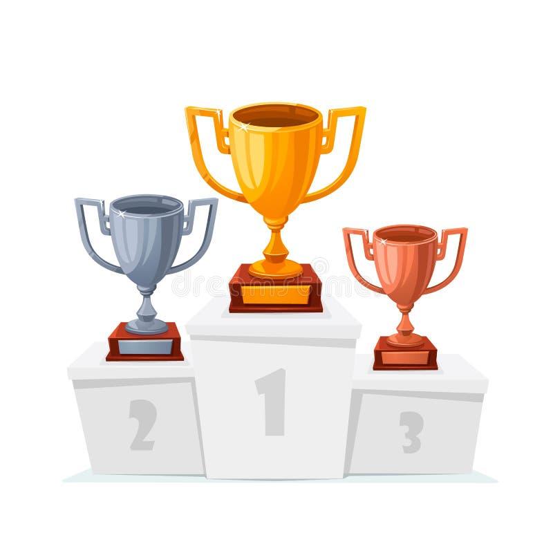 金子,银,古铜色战利品杯子 在指挥台的优胜者觚 动画片样式在被隔绝的白色垫座的战利品杯子 第1 向量例证