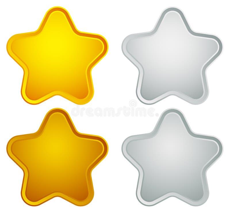 金子,银,古铜,白金星形状隔绝在白色 向量例证